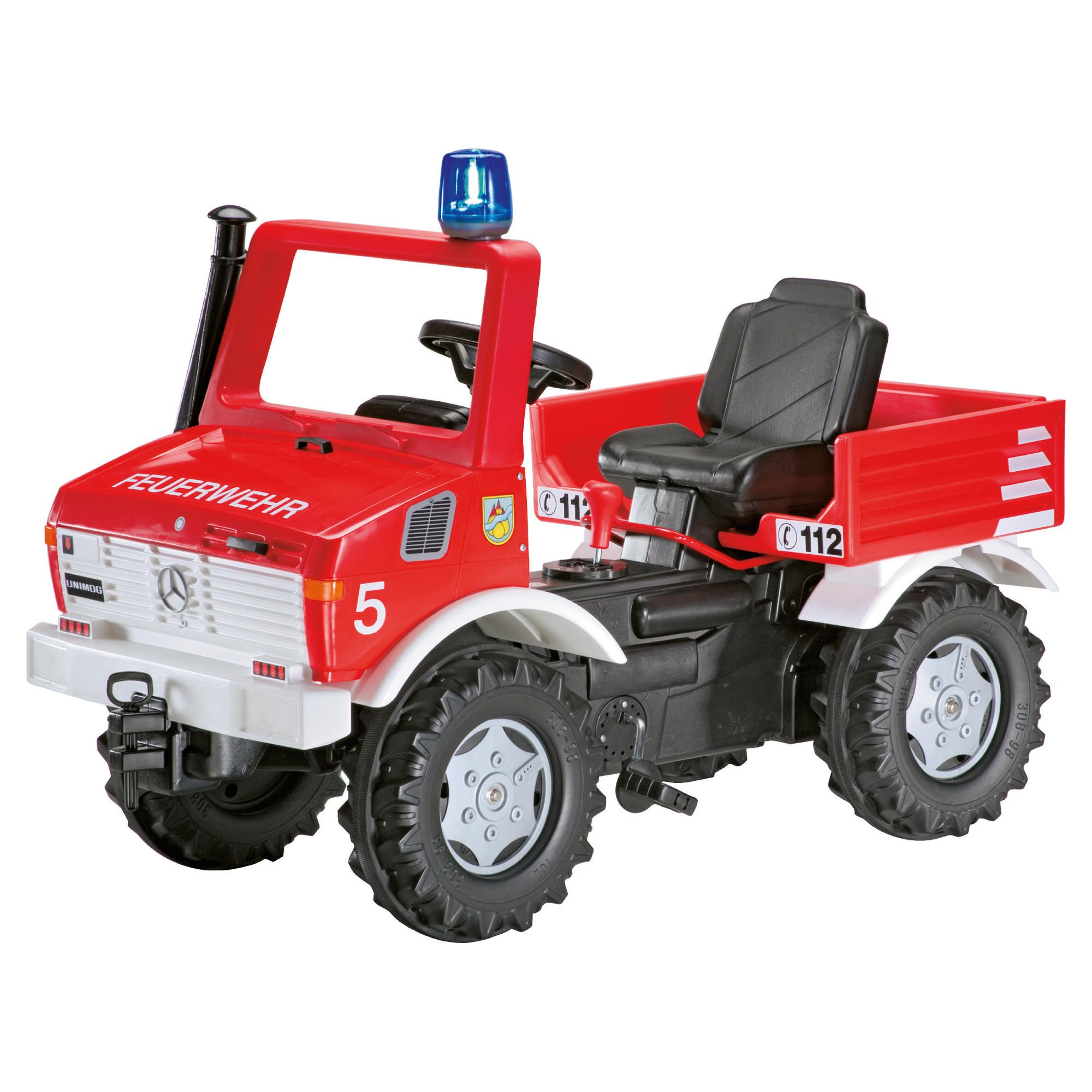 Fire Brigade Unimog Ride-On With Gears, Handbrake & Blue Flashing Light at Tesco Direct