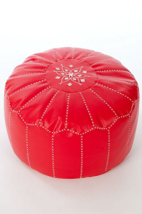 Kaikoo Moroccan Faux Leather Pouffe With Embroidery, Red