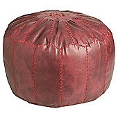 Kaikoo Moroccan Pouffe With Embroidery, Maroon
