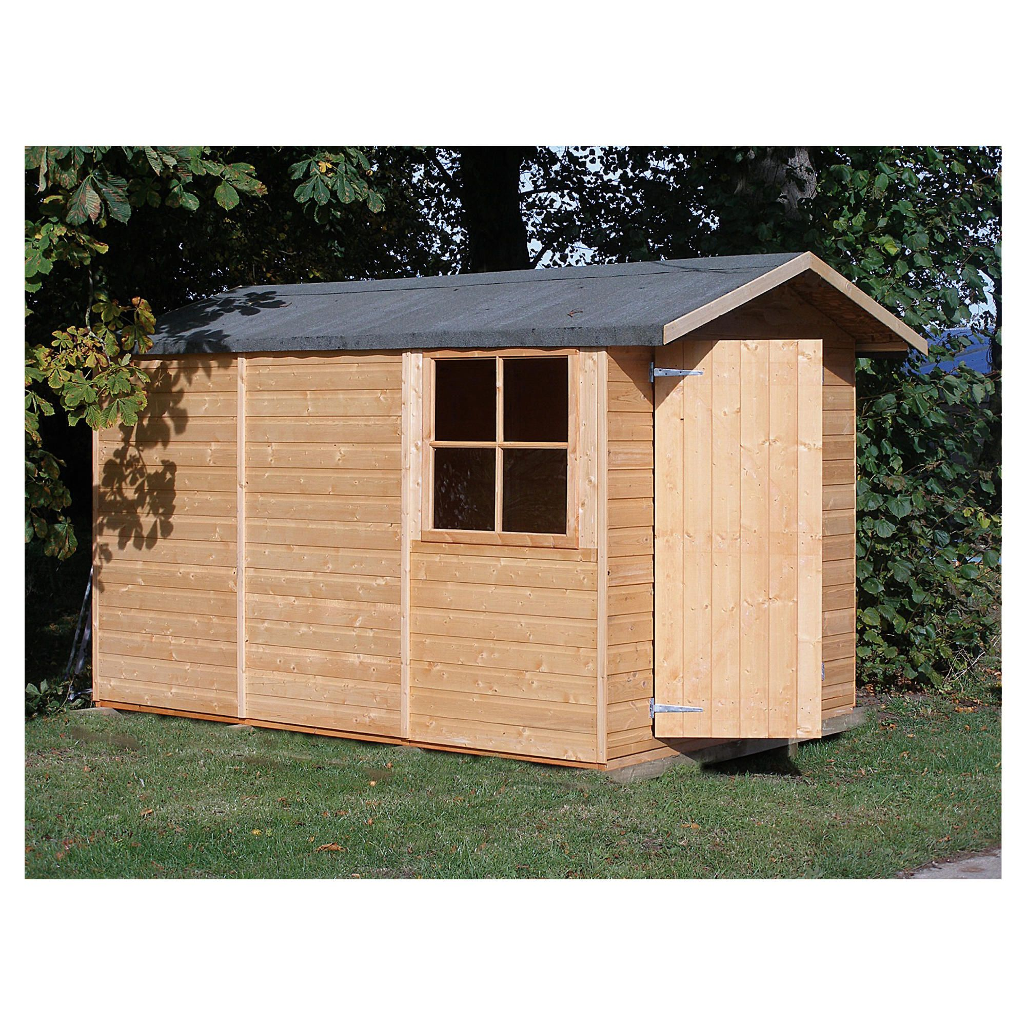 Finewood guernsey apex double door shiplap 10x7 for Garden shed tesco
