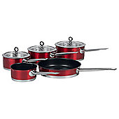 Morphy Richards 5 Piece Pan Set, Red