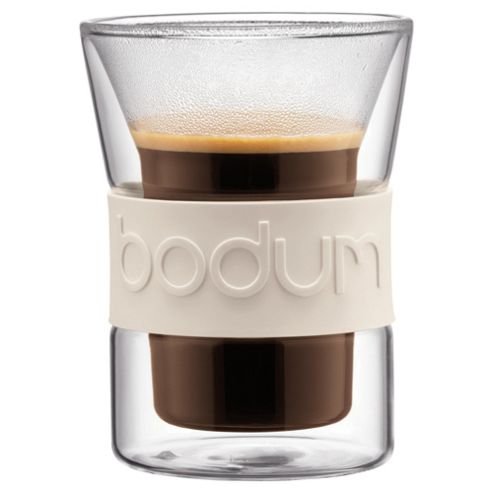 Bodum Presso Set of 2 0.2L Double Walled Glasses, White