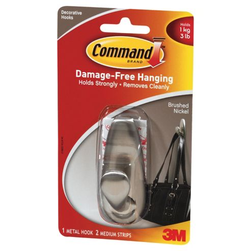 Command brushed nickel metal hook, medium