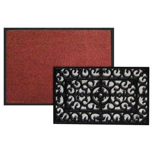 Red Indoor Mat 60x80cm & Rubber Mat 45x75cm