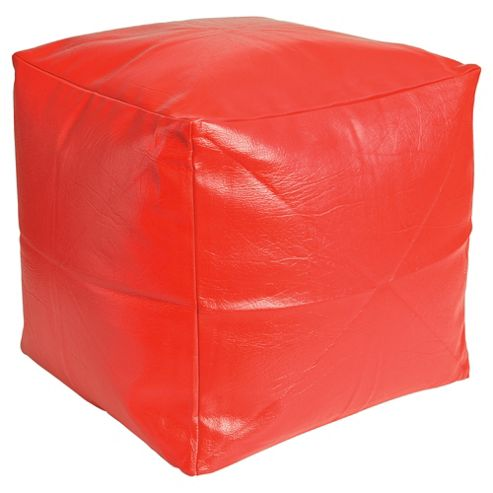 Kaikoo Faux Leather Bean Bag Cube, Red