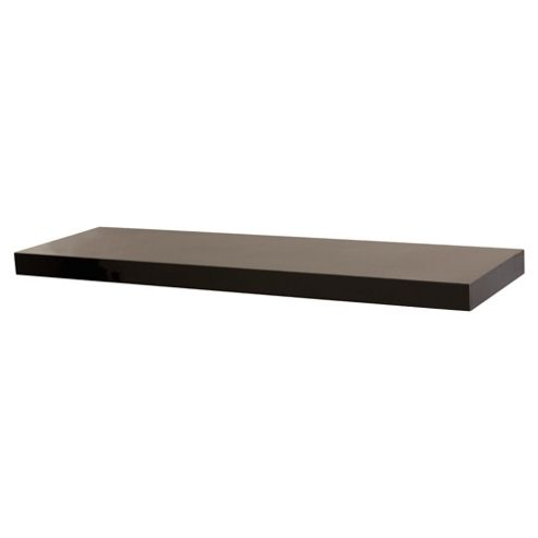 High Gloss Black Floating Shelf 80cm