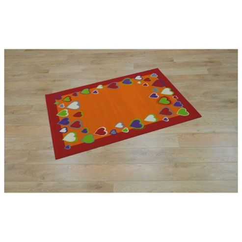 Tesco Kids Coloured Hearts Rug Red / Orange 115x160cm