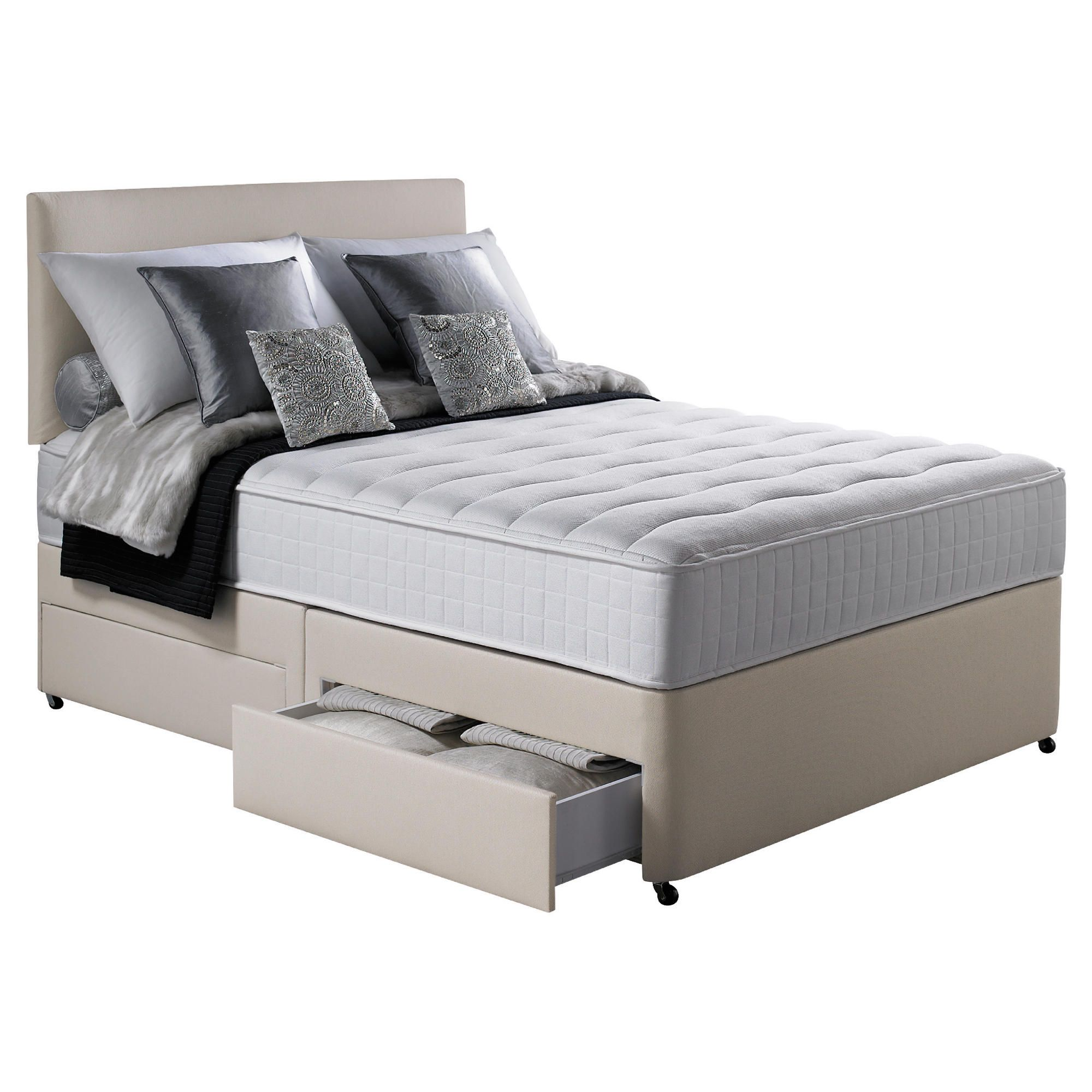 Silentnight Pocket Essentials Memory Foam Double 4 Drawer Divan Bed at Tesco Direct