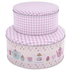 Tesco Time for Tea Set of 2 Cake Tins
