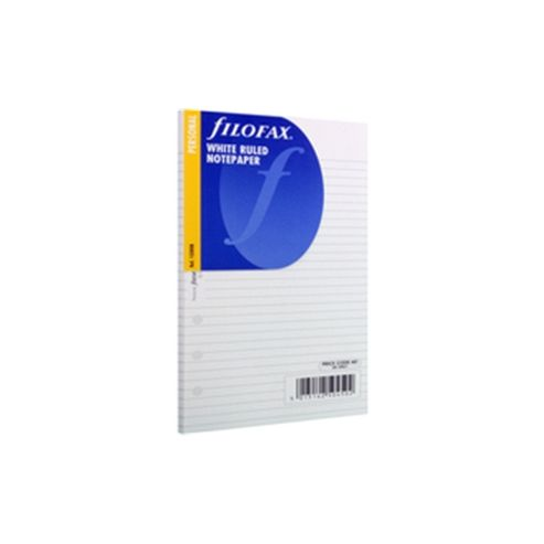 Filofax Personal Size Organiser White Ruled Notepaper Refill