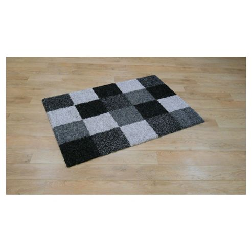 Tesco Rugs Shaggy Blocks Rug Charcoal 160X230cm
