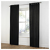 Tesco Plain Canvas Unlined Belt Top Curtains - Black