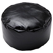 Kaikoo Faux Leather Pouffe, Black