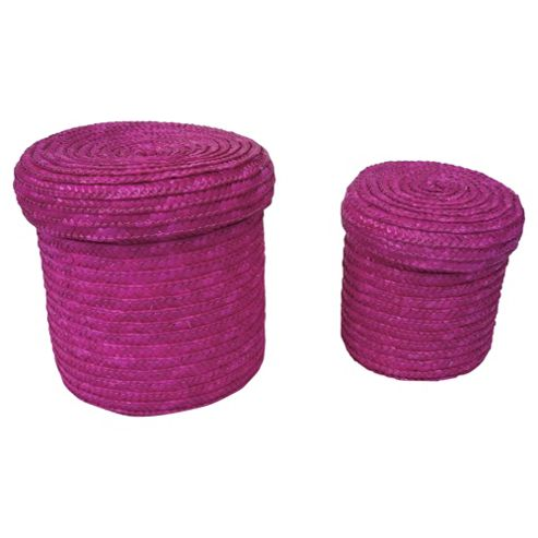 Tesco Set of 2 Straw Storage Baskets Pink