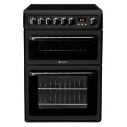 Hotpoint Hae60K Black Ceramic Dbl Oven Electric Cooker