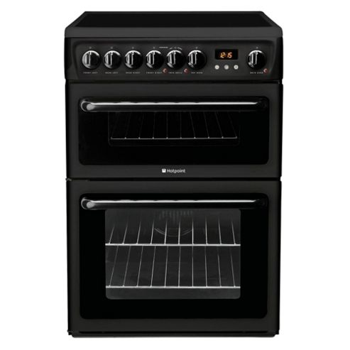 Hotpoint Hae60K Black Ceramic Double Oven Electric Cooker