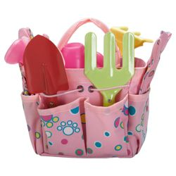 Tesco Kids Pink 6 piece garden tool set in carry bag