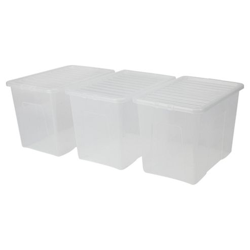 Tesco Crystal 80L Plastic Storage Box And Lid, 3 Pack Clear