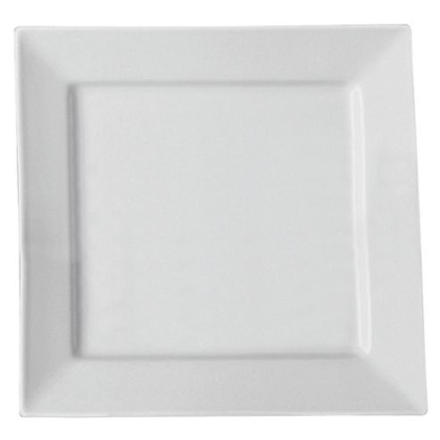 Tesco Square Porcelain Dinner Plate, White