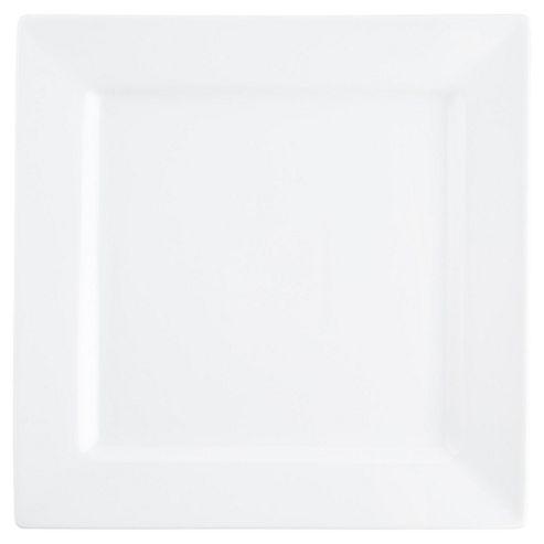 Super White Square Dinner Plate, Porcelain