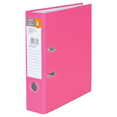 Tesco A4 Lever Arch File, Pink, 5 Pack