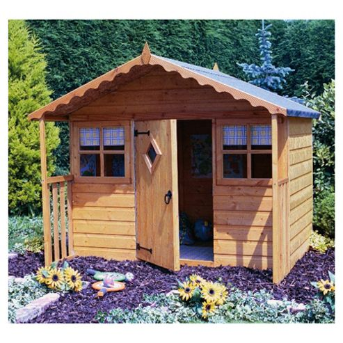 Finewood 6ft x 6ft Cubby Wooden Playhouse, with Veranda