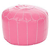 Kaikoo Moroccan Pouffe With Embroidery, Pink