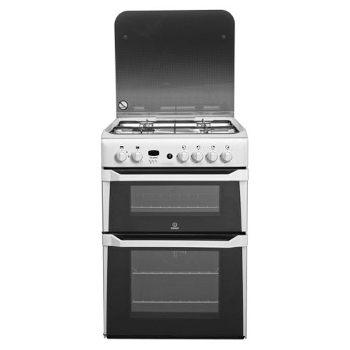 Indesit Id60g2w White Steel Ceramic Double Oven Gas Cooker