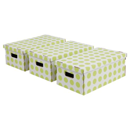 Pois Boxes Set, 3 Piece - Green