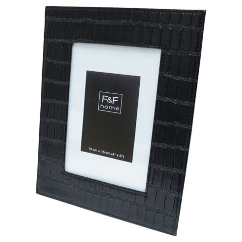 F&F Home Black croc leather 4x6