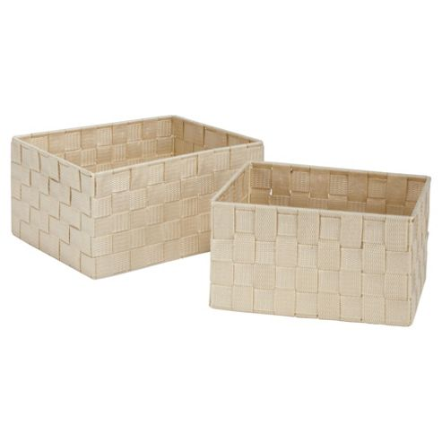 F+F Home Set of 2 Natural coloured Storage Boxes