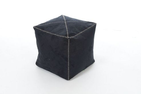 Kaikoo Signature Faux Suede Cube With Stich Detail, Charcoal
