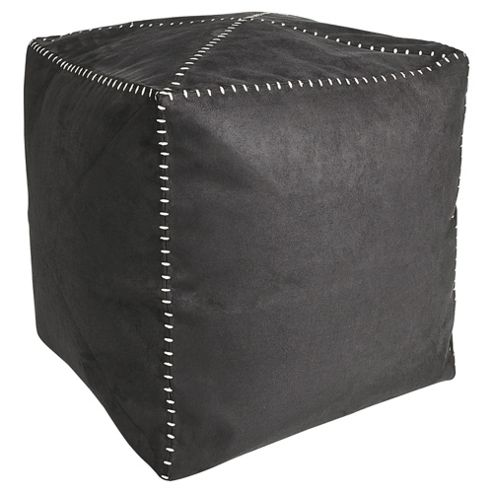 Kaikoo Faux Suede Bean Bag Cube With Stitch Detail, Charcoal