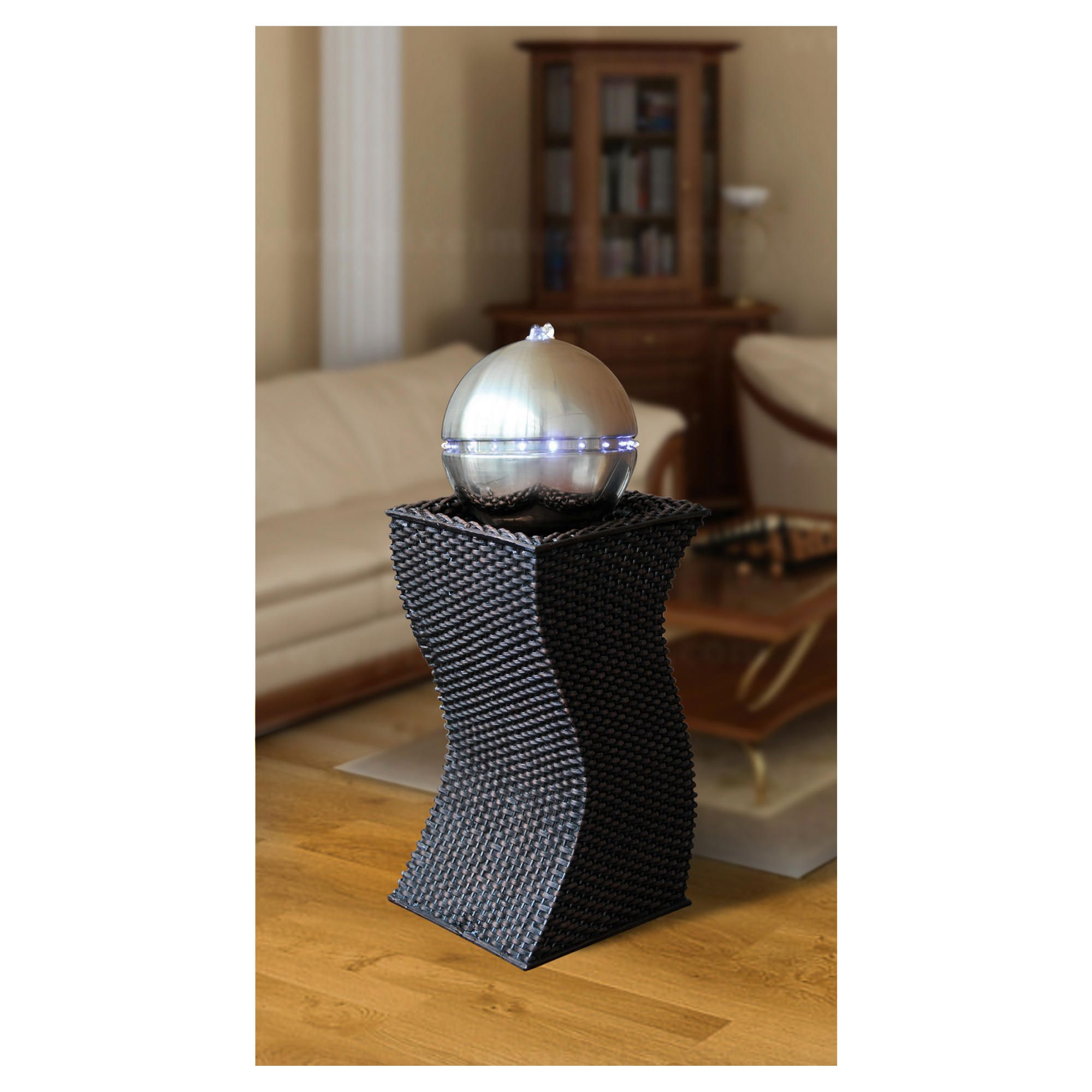 Bermuda Pisa Rattan Water Feature With Stainless Steel Effect Sphere