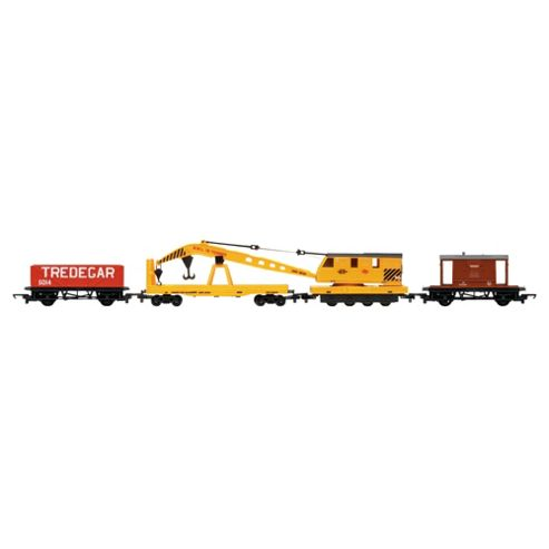 Hornby R6365 Railroad Breakdown Train - 20 Ton Brake Van, Crane, Lwb Open 00 Gauge Wagon Rolling Stock