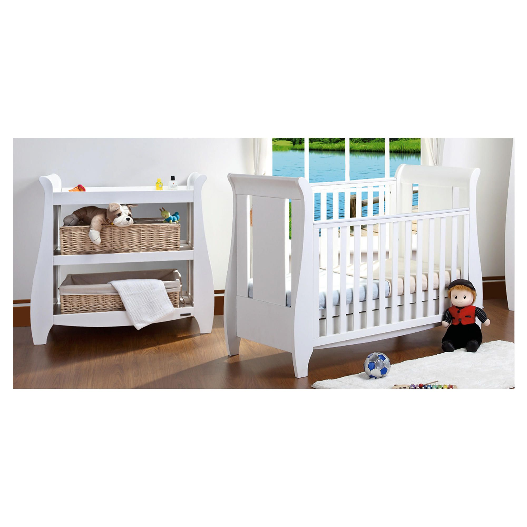 Tutti Bambini Katie Cotbed with Shelf Changer Nursery Room Set, White at Tesco Direct