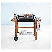 Tesco Deluxe Twin Grill Charcoal BBQ with Wooden Bench