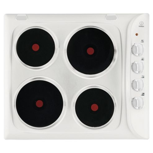 Indesit PIM604WH, Solid Plate, White, Electric Hob, 58cm