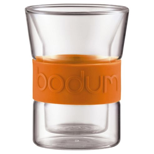 Bodum Presso Set of 2 0.2L Double Walled Glasses, Orange