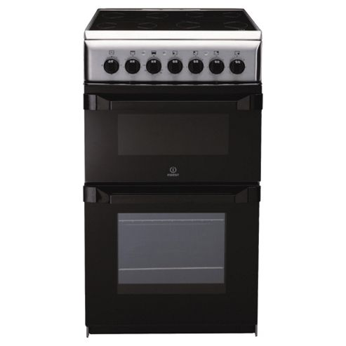Indesit IT50C1X stainless steel ceramic twin electric cooker