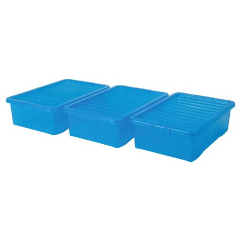 Tesco Crystal 32L Underbed Plastic Storage Box With Lid, 3 Pack Blue