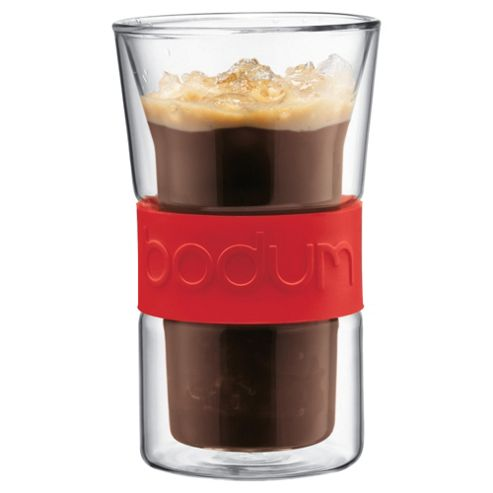 Bodum Presso Set of 2 0.3L Double Walled Glasses, Red