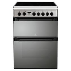 Indesit ID60C2X Stainiess Steel Ceramic DBL Oven Electric Cooker