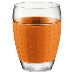 Bodum Pavina Set of 2 0.45L Glasses, Orange.
