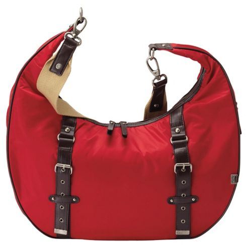 OiOi Red Nylon Twill Hobo Slouch Changing Bag.