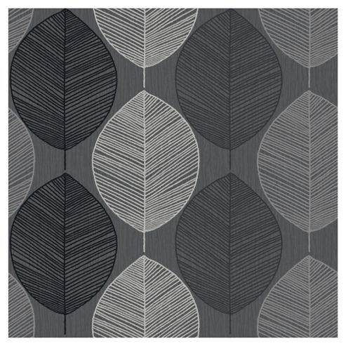 Arthouse Retro Leaf Black Wallpaper