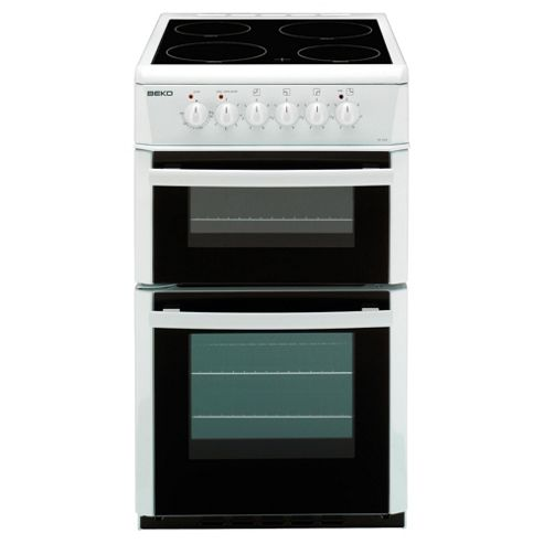 Beko DC5422AW 50cm Double Cavity Ceramic Electric Cooker White