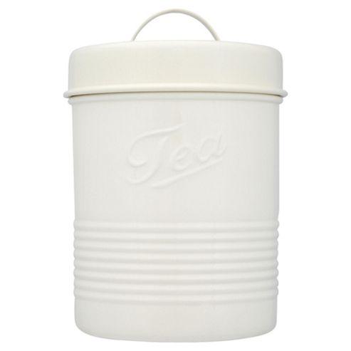 Tesco Enamel Tea Canister with Cream Lid, Cream