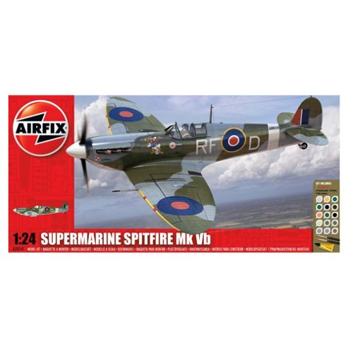 Airfix A50141 Battle Of Britain Memorial Flight Supermarine Spitfire Mkvb 1:24 Scale Military Aircraft Gift Set Including Paint Glue & Brushes