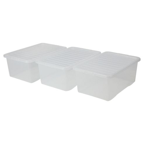 Wham 45L Plastic Storage Boxes with Lids, Clear, Set of 3